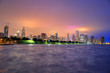 Chicago, Illinois, USA - June 22, 2018 - The Chicago skyline at night after a storm across Lake Michigan.