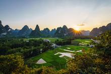 Beautiful Rice Fields In Province Of Guangxi