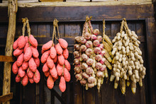 Chinese Vegetables And Nuts Hanging In Bunches