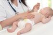 Pediatrician examining baby