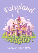 Fairy Tale Castle Flat Illustration Poster. Fairyland Kid Book Cover Concept.