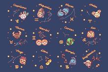 Vector Cute Zodiac Poster. Cartoon Astrology Icons