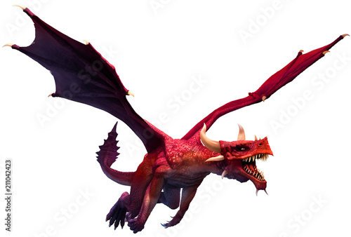 Fototapeta Red dragon 3D illustration