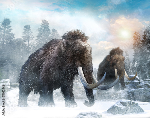 Mammoth scene 3D illustration Wall mural