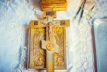 Church Golden Cross On Bible. Baptism Of Child