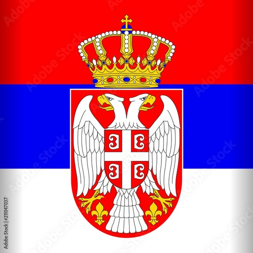 In de dag Draw Serbia Flag Vector illustration with Shield, Eagles and Crown Emblem