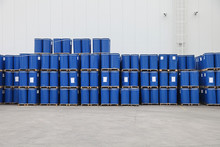 Blue Barrels At Pallets