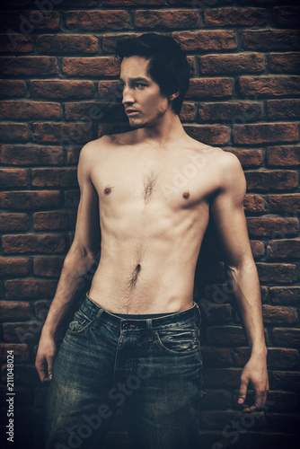 Foto op Canvas Akt sexual guy in jeans