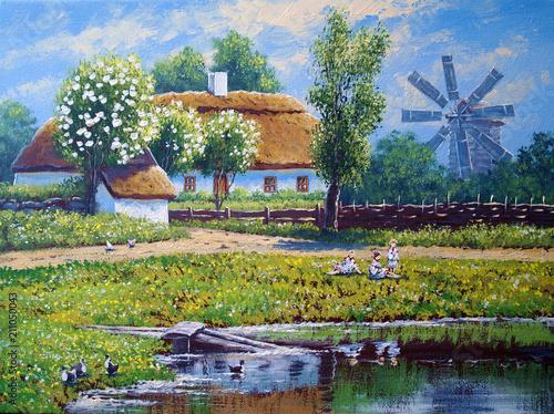Obraz na płótnie Oil paintings rural landscape.Fine art.