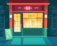 Vector Cartoon Background With Bar At Night. Facade Of Building For Public Catering, Exterior Of Beerhouse With Shop-windows And Signboard. Entrance Of Fast Food Restaurant With Beer And Snacks