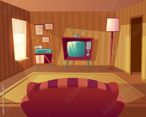 Vector Illustration Of Cartoon Living Room Front View From Sofa To