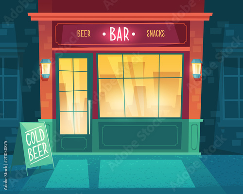 Vector cartoon background with bar at night Wallpaper Mural