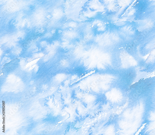 Fotomural  Seamless sky blue background pattern painted in watercolor