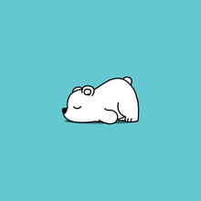 Lazy Polar Bear Cartoon, Vecto...