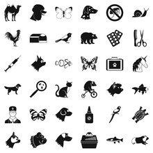 Animal Icons Set. Simple Style Of 36 Animal Vector Icons For Web Isolated On White Background
