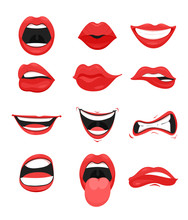 Vector Illustration Set Of Cute Mouth With Red Lips Expressions Facial Gestures Collection. Smiling Sticking, Out Tongue, Different Emotions Isolated On White Background.