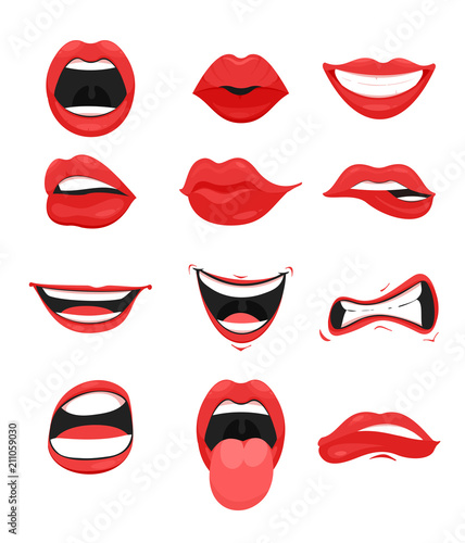 Photo Vector illustration set of cute mouth with red lips expressions facial gestures collection