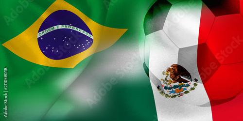 Fotografie, Obraz ブラジル メキシコ  国旗 サッカー