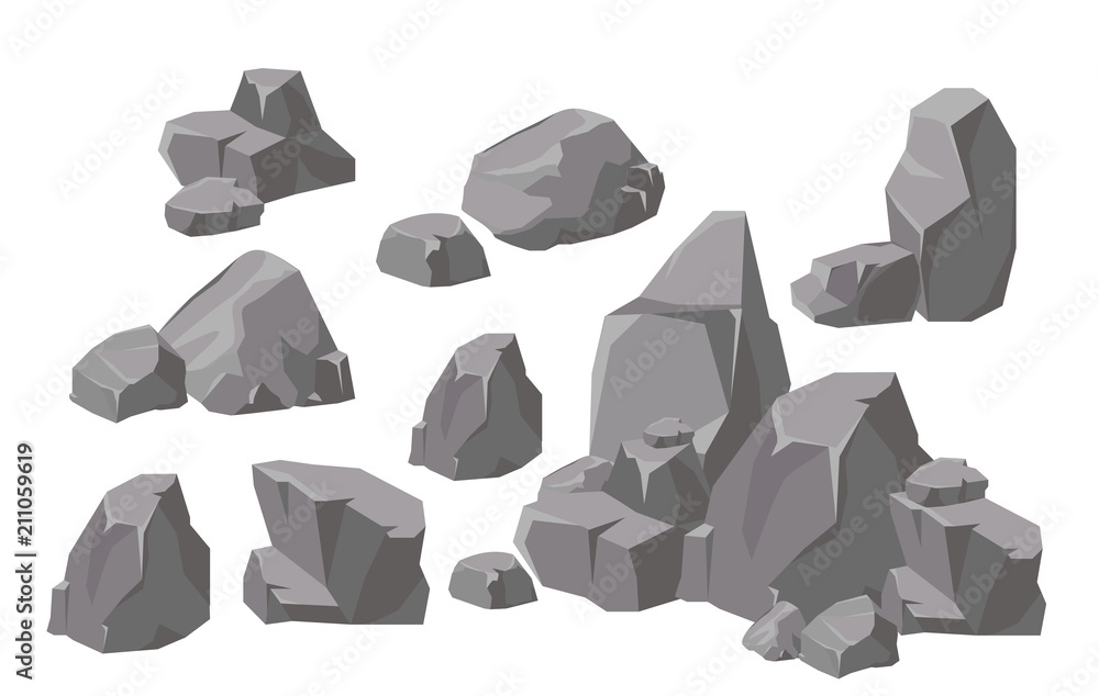 Fototapeta Vector illustration set of rocks and stones elements and compositions in flat cartoon style. Cartoon stone for games and backgrounds.