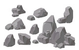 Fototapeta Rocks - Vector illustration set of rocks and stones elements and compositions in flat cartoon style. Cartoon stone for games and backgrounds.