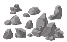 Vector Illustration Set Of Rocks And Stones Elements And Compositions In Flat Cartoon Style. Cartoon Stone For Games And Backgrounds.