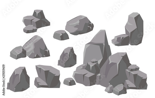 Photo Vector illustration set of rocks and stones elements and compositions in flat cartoon style