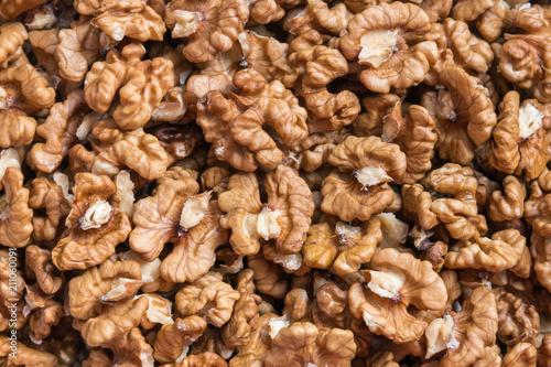 closeup of dried shelled walnut kernels