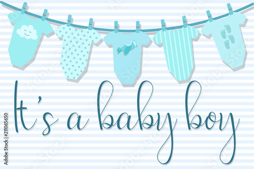 Vector Image Of An Invitation Card For Baby Shower Greeting