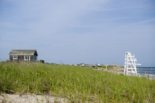 Beach Scene With Grass Ditch P...