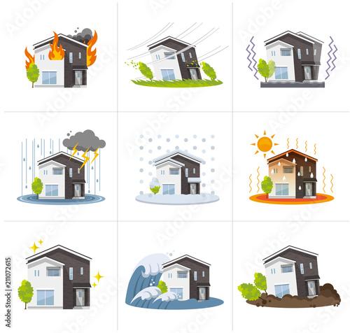 家、一軒家:災害、セット фототапет