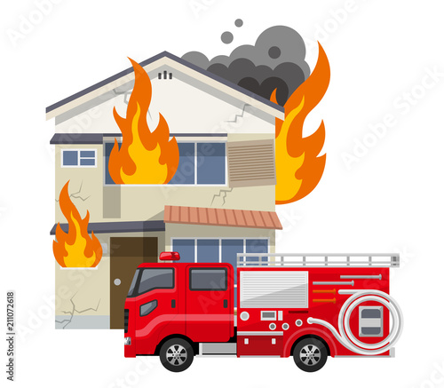 Cuadros en Lienzo 古い家、一軒家:火事、火災、消防車