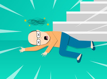 Fainted Old Man After Falling From Staircase, Art