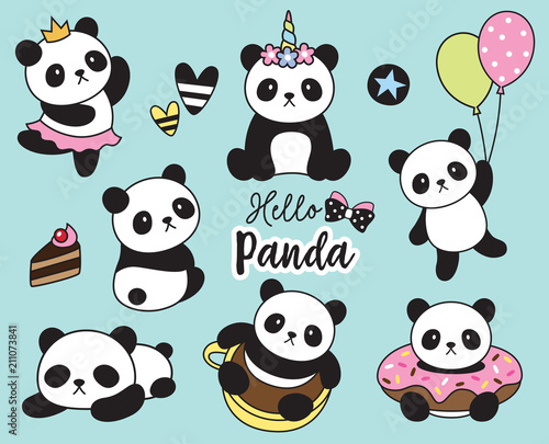 Photo  Vector illustration of cute baby panda set.