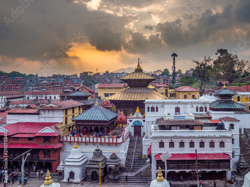 View at Pashupatinath main complex during the sunset