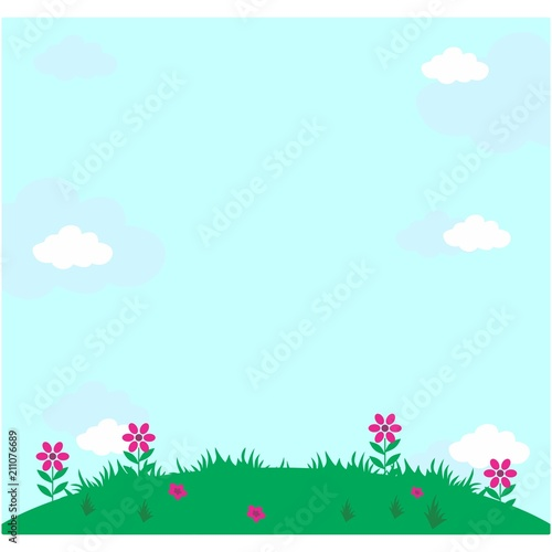 Foto op Canvas Lichtblauw flower field meadow grassland outdoor view landscape background
