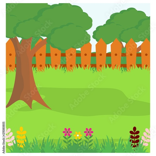 Poster Lime groen the tree in the garden with fence around scenery landscape background