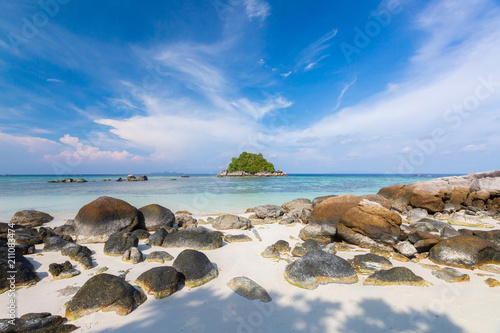 Foto op Canvas Cathedral Cove Beautiful tropical white sand and rock near the Serendipity Beach Resort at Lipe Island, Satun Province, Thailand.