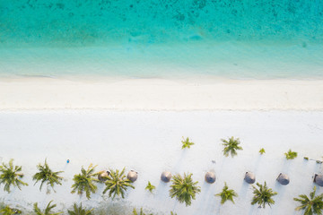 Aerial view of tropical white sand beach at Sunrise Beach, Lipe Island, Thailand.