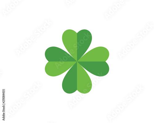 Canvas Print Green Clover Leaf Logo Template