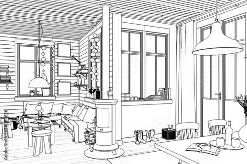 In de dag Illustratie Parijs In meinem Sommerhaus (Skizze)