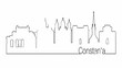 Self drawing animation of continuous one line drawing of isolated vector object - city urban skyline outline of Constanta Romania