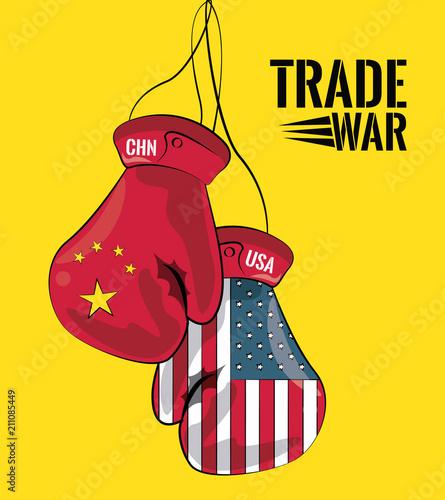 China and USA trade war concept vector illustration graphic design Wallpaper Mural