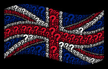 Waving United Kingdom Official Flag On A Black Background. Vector Question Items Are Placed Into Geometric British Flag Collage. Patriotic Composition Created Of Question Pictograms.
