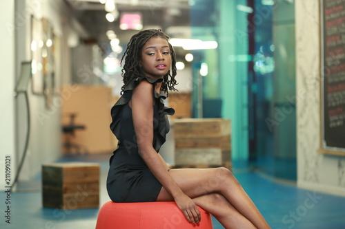 Alluring black woman in trendy dress Canvas Print