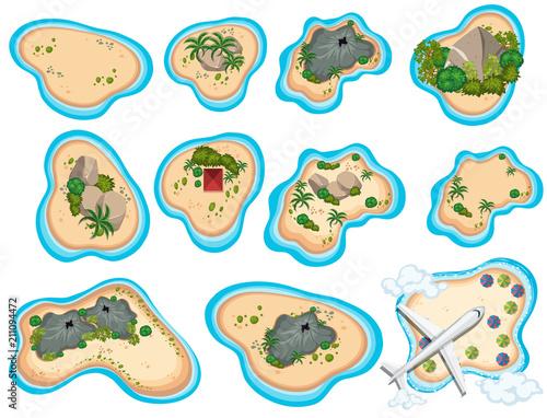 A Set of Beautiful Tropical Island Wall mural