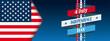 Header Happy 4th Of July USA Flag Ribbon