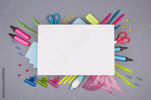 Concept Art Stationery Background With, Colored Desk Accessories