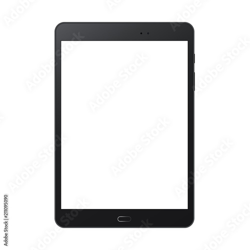 Obraz Black tablet computer mock up with blank screen isolated on white backround - front view. Vector illustration - fototapety do salonu