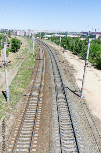 Volgograd, Russia - June 7, 2018: Railway, top view