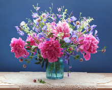 Bouquet Of Pink Peonies And Ot...